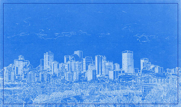 Painting - Edmonton Canada Blueprint by Celestial Images