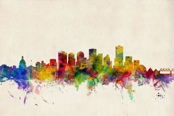 Watercolour Digital Art - Edmonton Canada Skyline by Michael Tompsett