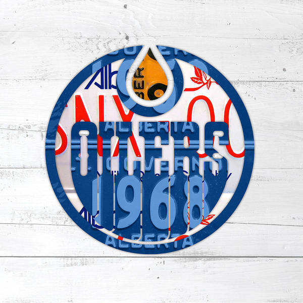 Wall Art - Mixed Media - Edmonton Oilers Hockey Team Retro Logo Vintage Recycled Alberta Canada License Plate Art by Design Turnpike