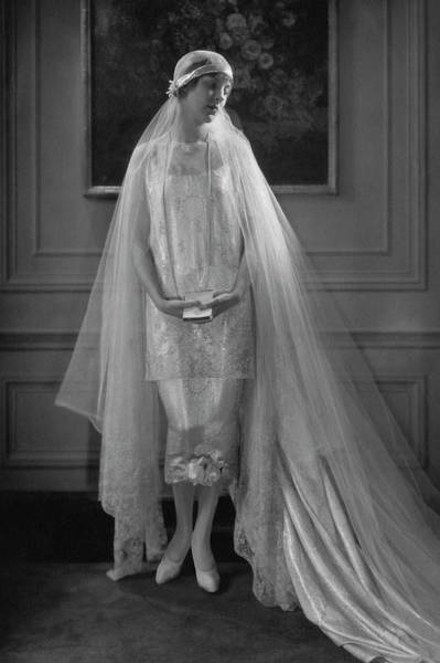 Train Photograph - Edna Johnson In A Bridal Gown by Edward Steichen