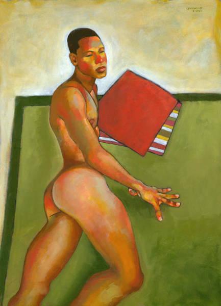 Blanket Painting - Eduardo On Green Blanket by Douglas Simonson