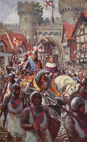 Horseback Drawing - Edward V Rides Into London With Duke by Charles John de Lacy