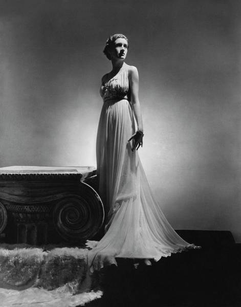 1936 Photograph - Edwina D'erlanger Wearing An Alix Dress by Horst P. Horst