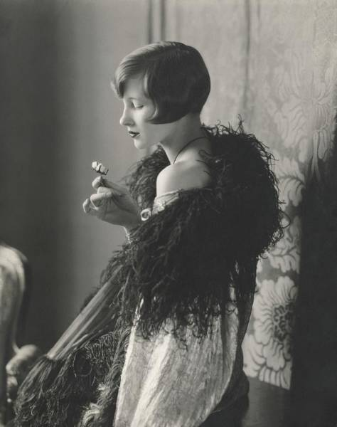 Down Feather Photograph - Edythe Baker Wearing A Black Shawl by Edward Steichen