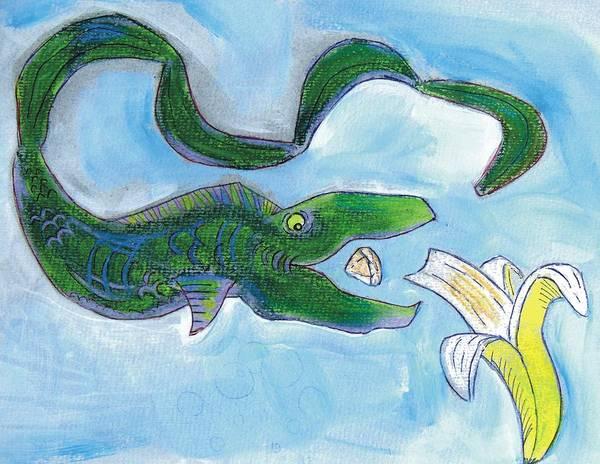 Drawing - Eel Cartoon by Mike Jory