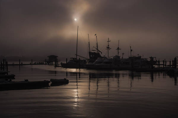 Photograph - Eerie Morning Fog St. Augustine Marina by Stacey Sather