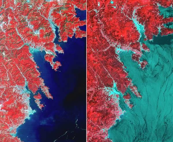 Ir Photograph - Effects Of 2011 Tsunami by Nasa/gsfc/meti/ersdac/jaros/us-japan Aster Science Team/science Photo Library
