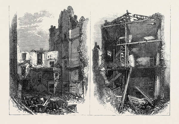 Explosion Drawing - Effects Of The Explosion At Clerkenwell Interiors Of Houses by English School
