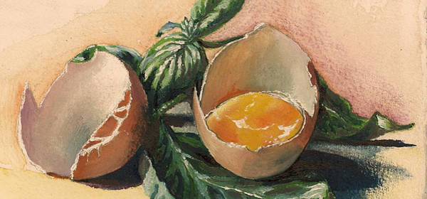 Ingredient Painting - Egg And Basil by Alessandra Andrisani