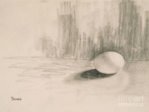 Spontaneous Drawing - Egg And Shadow by Teresa Ascone