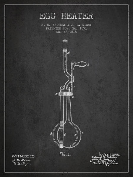 Wall Art - Digital Art - Egg Beater Patent From 1891 - Dark by Aged Pixel