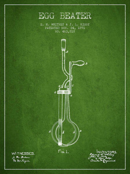 Wall Art - Digital Art - Egg Beater Patent From 1891 - Green by Aged Pixel