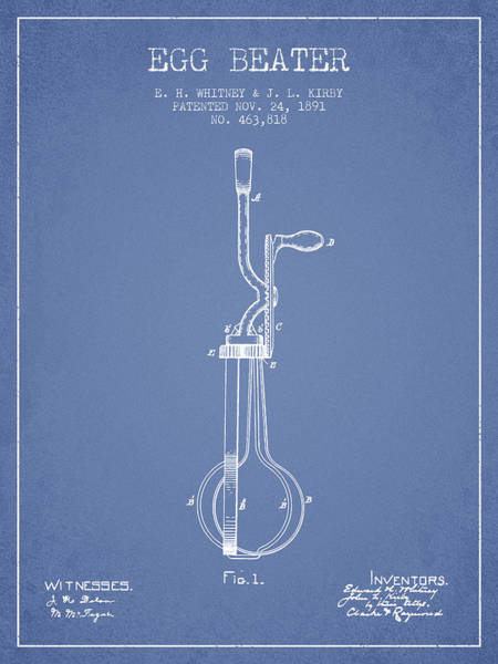 Wall Art - Digital Art - Egg Beater Patent From 1891 - Light Blue by Aged Pixel