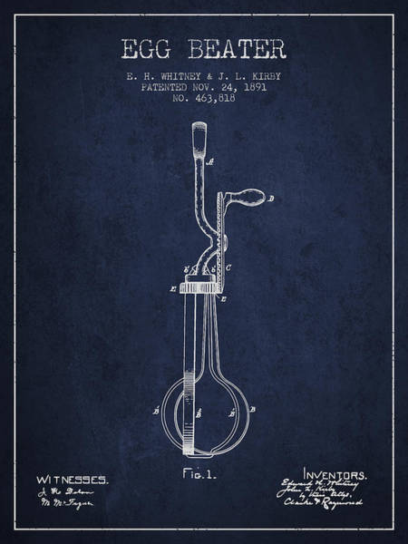 Wall Art - Digital Art - Egg Beater Patent From 1891 - Navy Blue by Aged Pixel