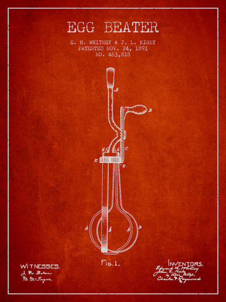 Wall Art - Digital Art - Egg Beater Patent From 1891 - Red by Aged Pixel