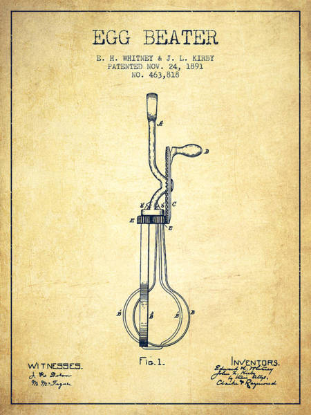 Wall Art - Digital Art - Egg Beater Patent From 1891 - Vintage by Aged Pixel