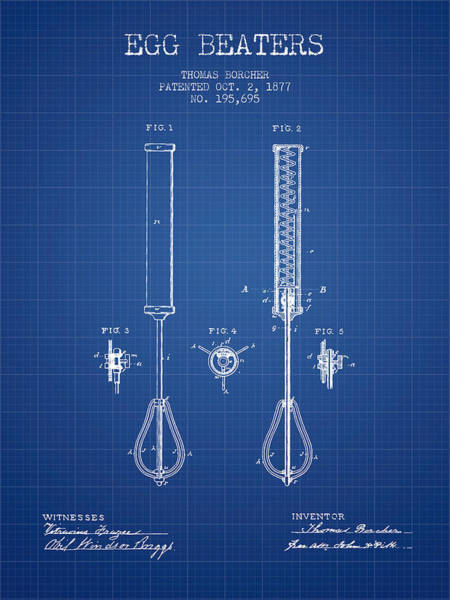 Kitchen Utensil Digital Art - Egg Beaters Patent From 1877 - Blueprint by Aged Pixel