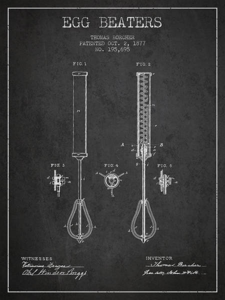 Wall Art - Digital Art - Egg Beaters Patent From 1877 - Dark by Aged Pixel