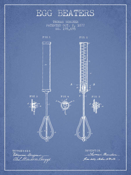 Wall Art - Digital Art - Egg Beaters Patent From 1877 - Light Blue by Aged Pixel