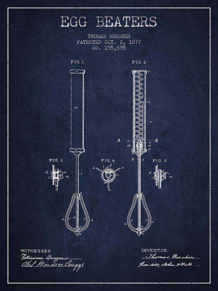 Wall Art - Digital Art - Egg Beaters Patent From 1877 - Navy Blue by Aged Pixel