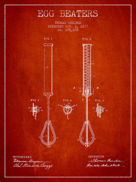 Wall Art - Digital Art - Egg Beaters Patent From 1877 - Red by Aged Pixel