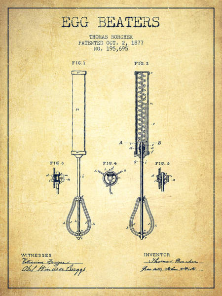 Wall Art - Digital Art - Egg Beaters Patent From 1877 - Vintage by Aged Pixel