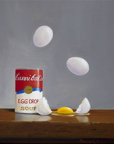 Broken Egg Painting - Egg Drop Soup by Paula Peacock