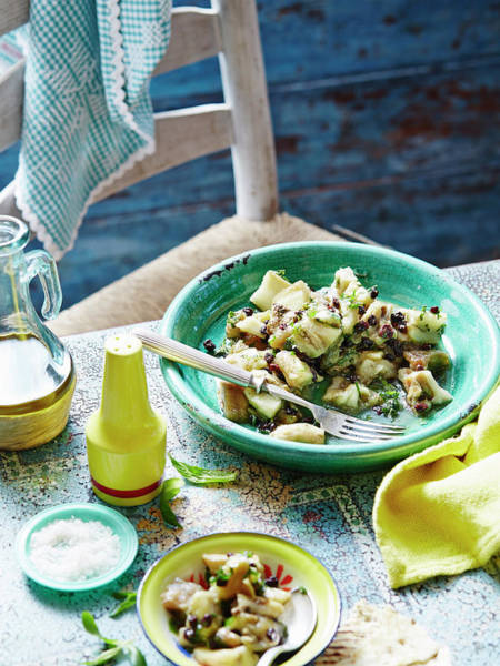 Blue Spoon Photograph - Eggplant, Mint And Sultana Salad by Brett Stevens