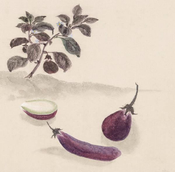 Wall Art - Digital Art - Eggplants by Aged Pixel