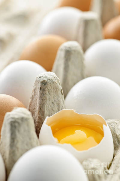 Yolk Wall Art - Photograph - Eggs In Box by Elena Elisseeva