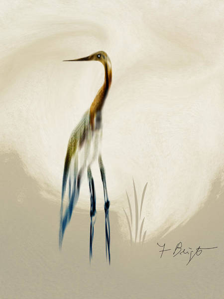 Sawgrass Digital Art - Egret In Autumn Abstract by Frank Bright
