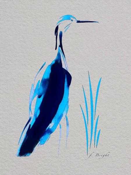 Sawgrass Digital Art - Egret In Blue 2 by Frank Bright