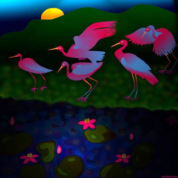 Egret Digital Art - Egrets by Latha Gokuldas Panicker