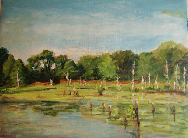 Painting - Egrets Refuge Cape Cod by Nicolas Bouteneff