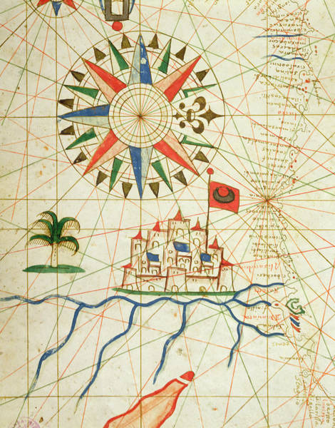 North Africa Wall Art - Drawing - Egypt, The River Nile And Cairo, From A Nautical Atlas, 1646 Ink On Vellum  by Italian School