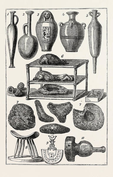 Prepare Drawing - Egyptian Antiquities 1, 2, 3, 4,5. Bottles And Vases. 6 by Litz Collection