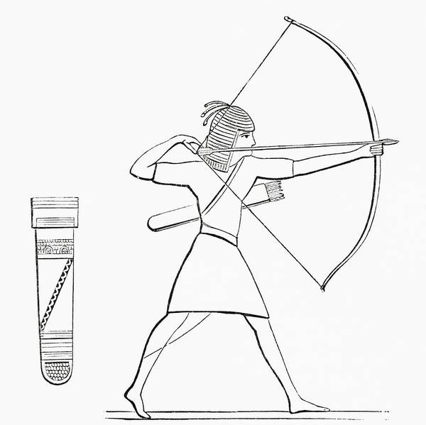Archery Photograph - Egyptian Archer And Quiver.  From The Imperial Bible Dictionary, Published 1889 by Bridgeman Images