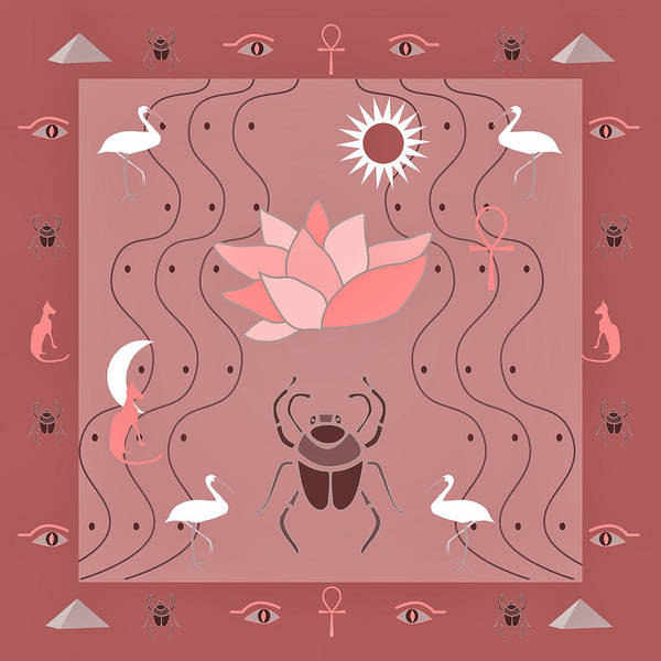 Digital Art - Egyptian Design - Dusty Roses by Belinda Greb