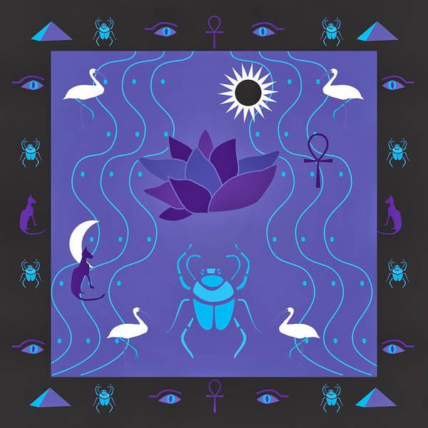 Digital Art - Egyptian Design - Purple Black by Belinda Greb