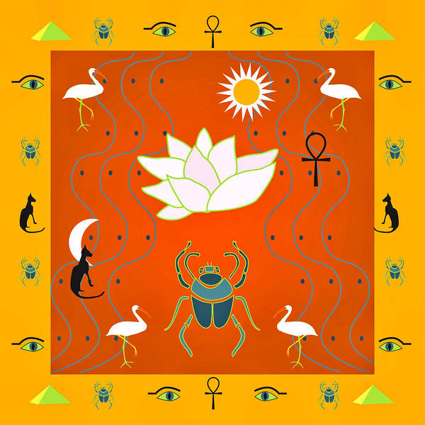 Digital Art - Egyptian Design - Salmon Gold by Belinda Greb