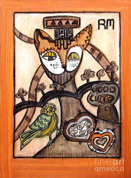 Protecter Painting - Egyptian God Cat With Two Hearts by Rosemary Lim