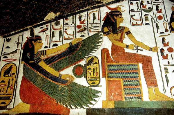 Hieroglyph Photograph - Egyptian Goddesses Ma'at And Serket by Patrick Landmann/science Photo Library