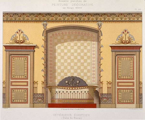 Elegant Drawing - Egyptian Interior , From Interior by Georges Remon