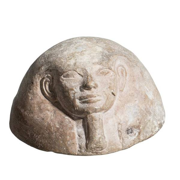 Lid Wall Art - Photograph - Egyptian Terracotta Canopic Jar Lid by Photostock-israel