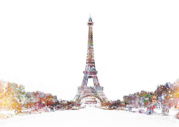 Horizontal Digital Art - Eiffel Color Splash by MGL Meiklejohn Graphics Licensing