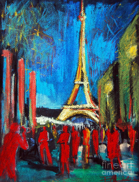 Abstract People Painting - Eiffel Tower And The Red Visitors by Mona Edulesco