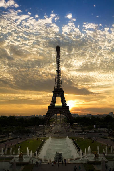 Nighttime Photograph - Eiffel Tower At Sunset by Debra and Dave Vanderlaan
