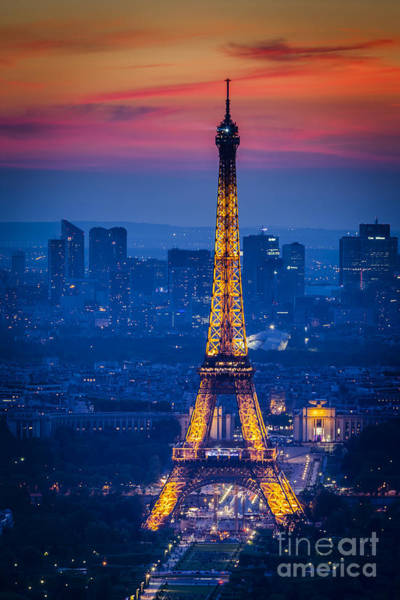 Art Print featuring the photograph Eiffel Tower At Twilight by Brian Jannsen