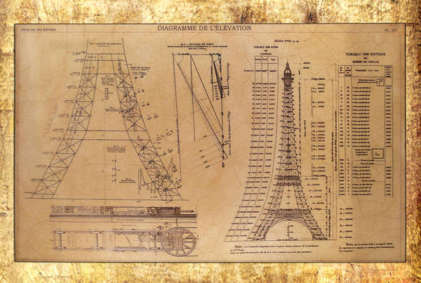 Wall Art - Photograph - Eiffel Tower Elevation Blueprint by Thomas Woolworth