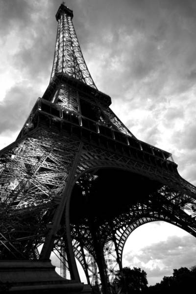 Photograph - Eiffel Tower In Black And White. Ominous Sky Overhead by Toby McGuire